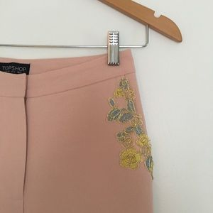 Topshop Nude Embellished Peg Trousers